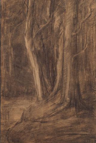 """""""S. Mesdag- van Houten (1834-1909)"""" - Bosgezicht"""