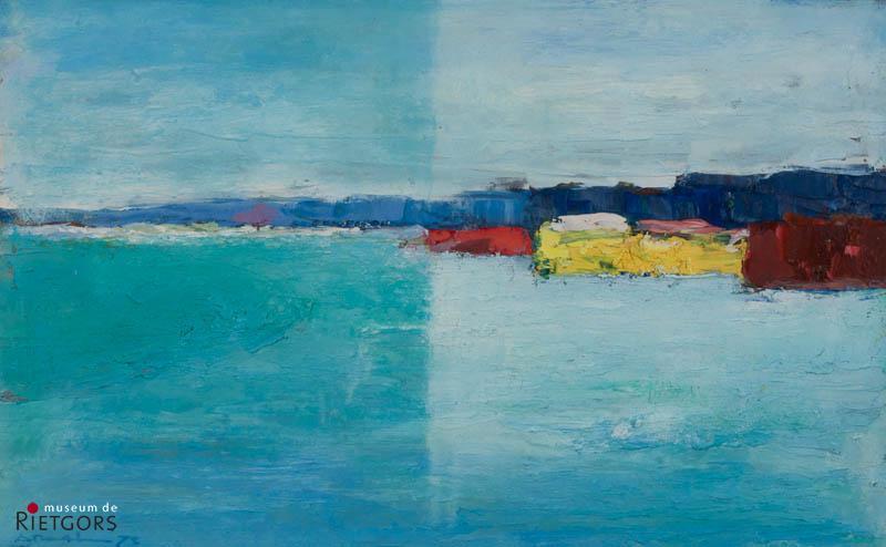 "A. Mouthaan (1940) - ""Landschap bij Alblasserdam. Ges. L.O. en '72."""