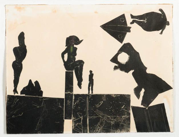 """D. Sterup Hansen (1918-1995) - """"Compositie met figuren. Unicum. Onduidelijk ges. en '57."""""""