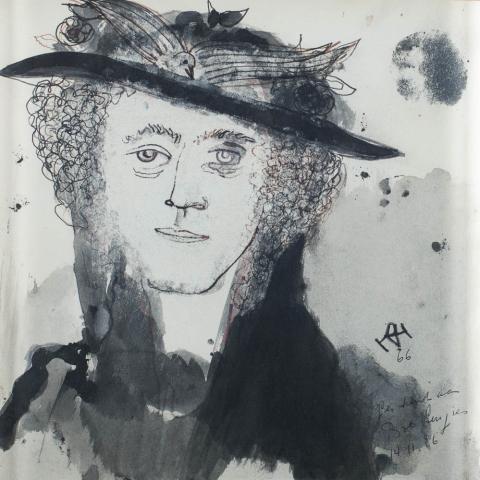 D. Henkes (1903-1989) - Vrouwenportret. Ges. R.O. en 1966.