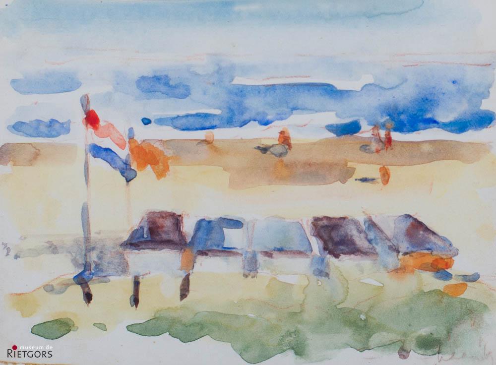 A. Mouthaan (1940) - Strandgezicht. Ges. R.O. en '69.