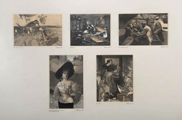 """J.B. Meinen - """"Vijf Collages van oude gravures, in de manier van Max Ernst. Ges. en '70."""""""