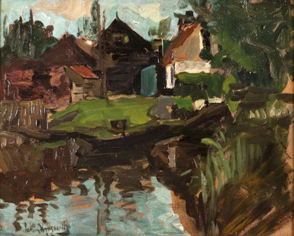 P. van Wijngaerdt (1873-1964) - Boerenschuren met schuit. Ges. L.O.