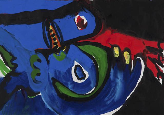 "B. Lindström (1925-2008) - ""Têtes bleues"". Ges. M.O."