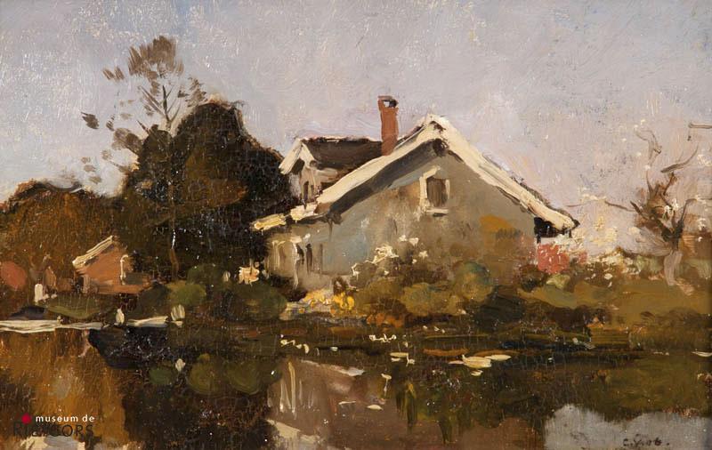 "C. Vreedenburgh (1880-1946) - ""Boerenhoeve aan het water. Ges. R.O. en 1906."""