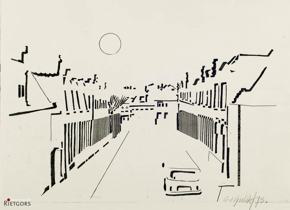 C. van Gulik (1938) - Straatje. 1973.