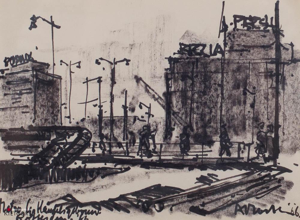 """A. Mouthaan (1940) - """"Metro-aanleg Gr. Handelsgebouw. Ges. R.O. en '66."""""""