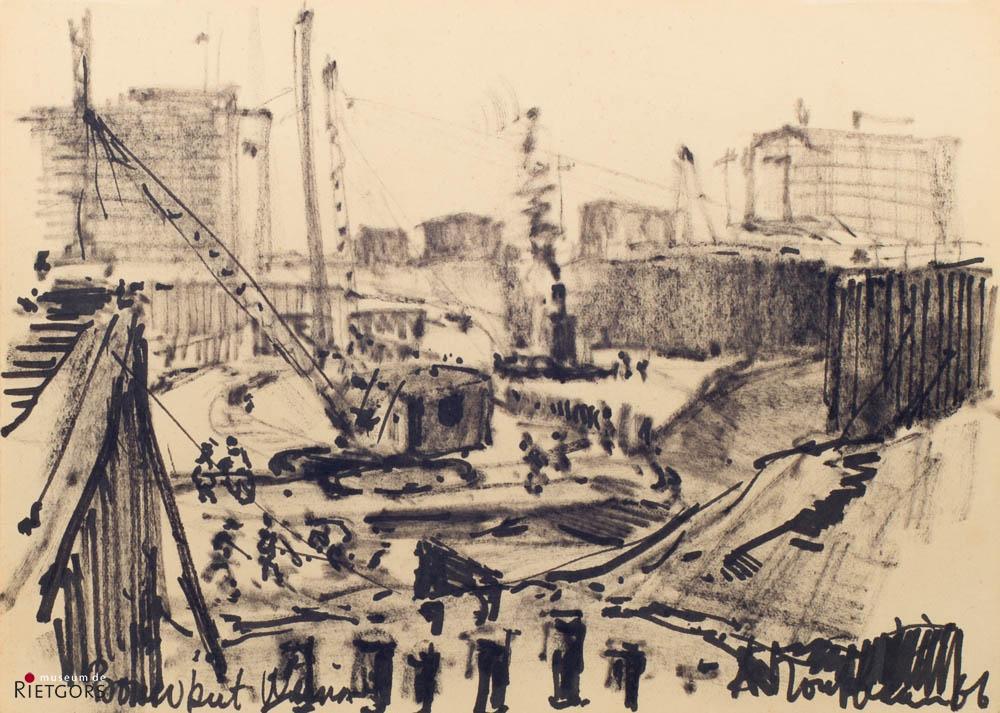 A. Mouthaan (1940) - Bouwput Weena, Rotterdam. 1966.