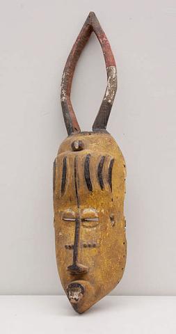 """Afrika, Nigeria - Ibo """"Een beschilderd houten Dansmasker uit Belgisch koloniale tijd. 20-er jaren."""""""