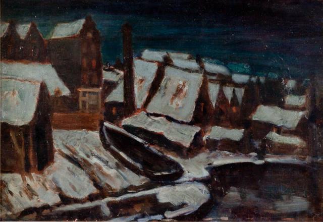 M.H. Mackenzie (1878-1961) - Schuiten in de sneeuw.
