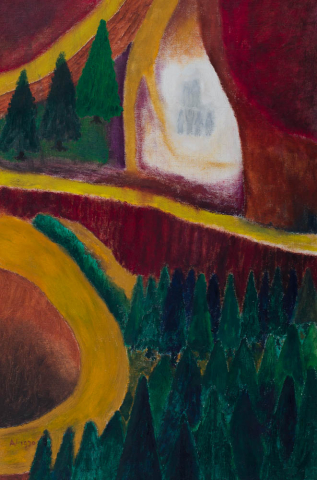 """A. Visser - """"De verheerlijking op de berg"""""""". Ges. L.O. en 1970."""""""