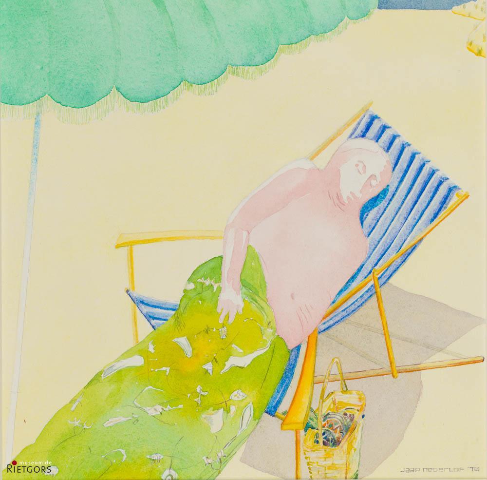 J. Nederlof - Man met parasol. Ges. R.O.
