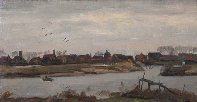 """B.C. Noltee (1903-1967) - """"Gezicht op de Veerdam te Papendrecht. Ges. R.O."""""""