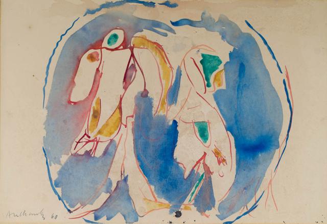 """P. Alechinsky (1927) - """"Dans la goutte d' eau"""". Ges. L.O. en '60."""