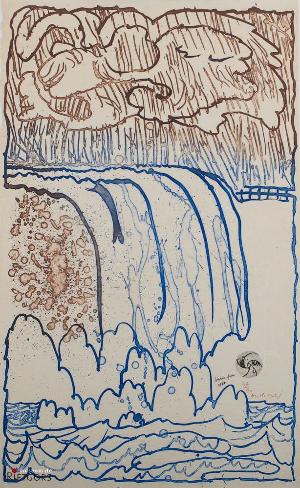 "P. Alechinsky (1927) - ""Garde fou"". Ges. R.O. en 1977. 37/60."