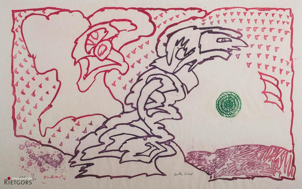 """P. Alechinsky (1927) - """"Dulle griet"""". Ges. L.O. en 1978. 32/60."""