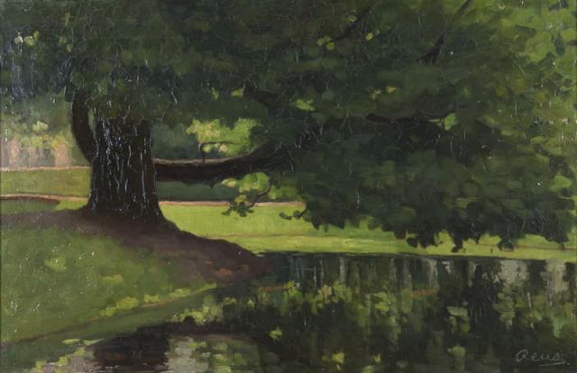 M.P. Reus (1865-1938) - De boom in het park Merwesteyn. Ges. R.O.