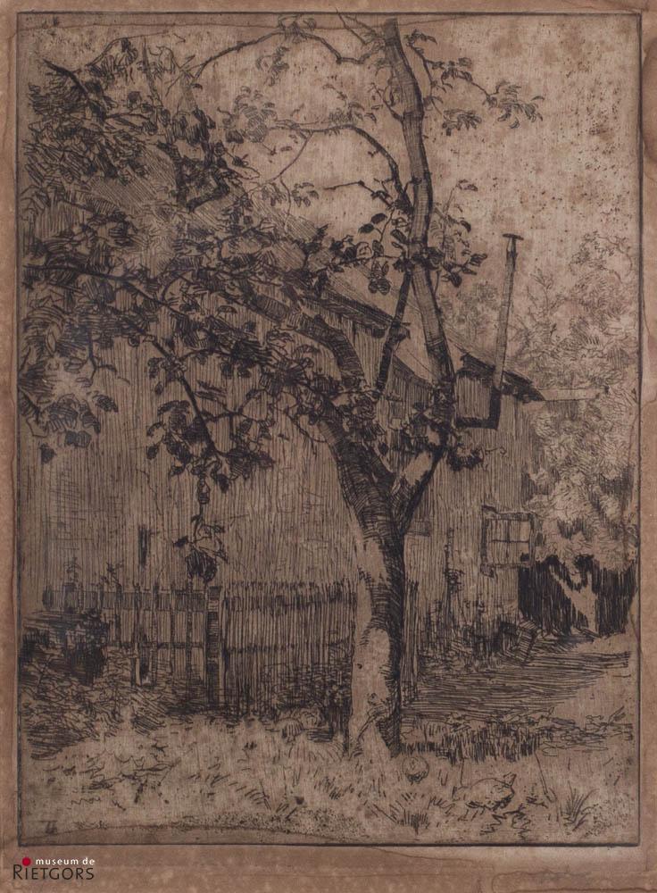 W.B. Tholen (1860-1931) - Tuin achter Ewijkshoeve. Ges. R.O. 27/50.