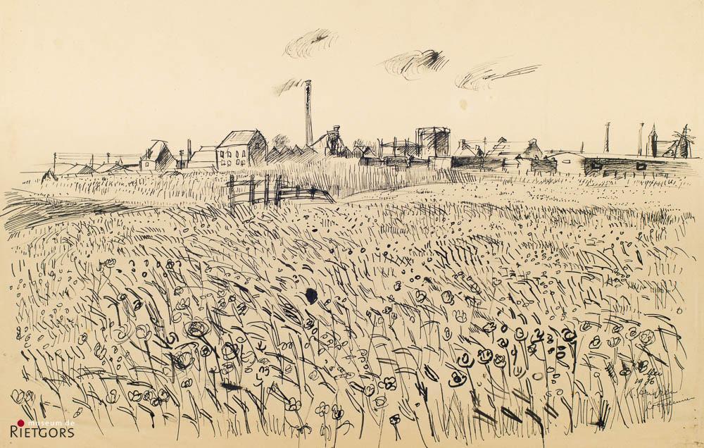 """K. Andrea (1914-2006) - """"Landschap bij Loosduinen. Ges. R.O. en 1936."""""""