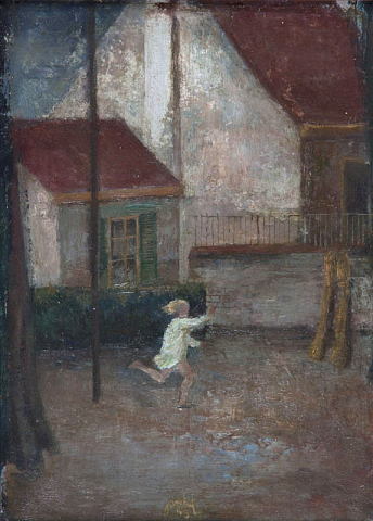 J. van Heel (1898-1990) - Spelend meisje in binnentuin. Ges. en 1943.