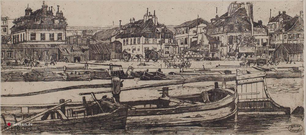 """P. Dupont (1870-1911) - """"Aan de kade, Parijs. Gem. met atelierstempel."""""""