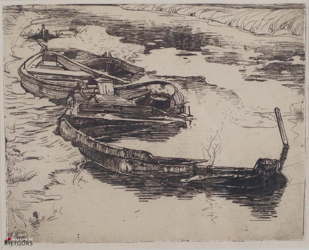 """P. Dupont (1870-1911) - """"Gezonken schuiten. Ges. L.O. met atelierstempel."""""""
