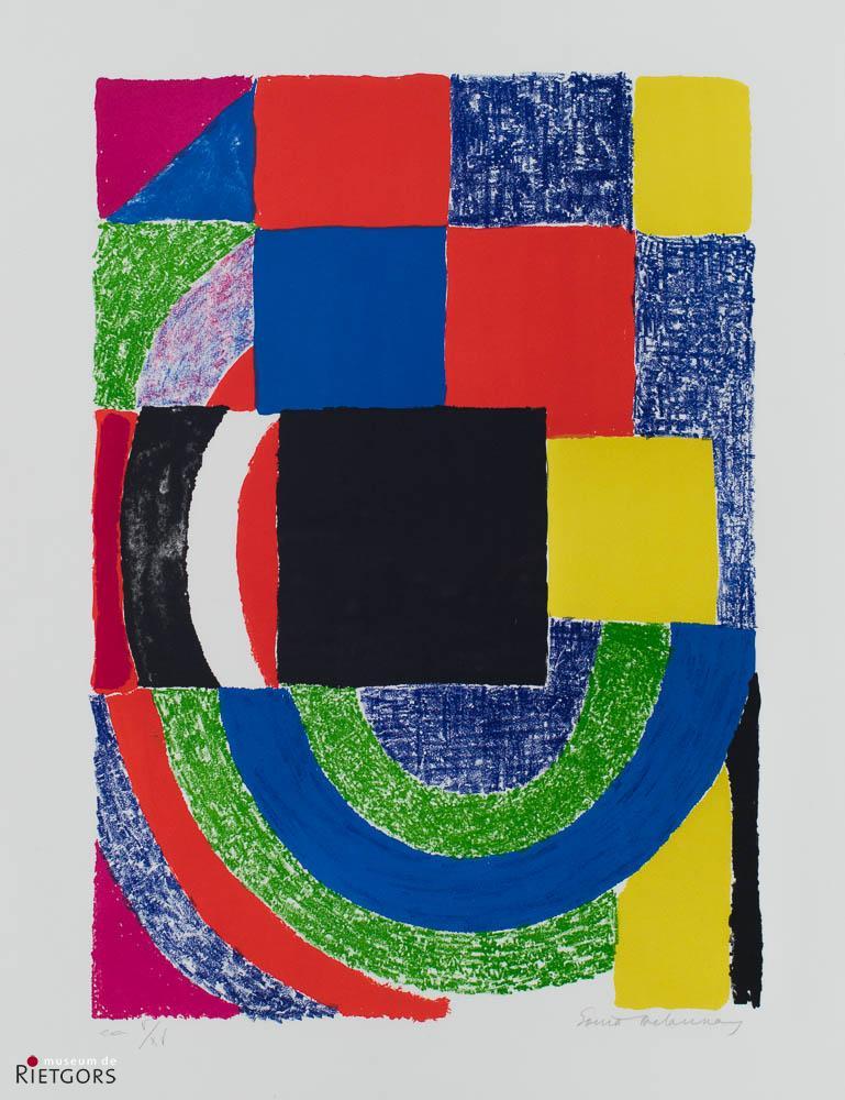 """S. Delaunay-Terk (1885-1979) - """"Suprematische cirkels vierkanten. Ges. R.O. en 5/15."""""""