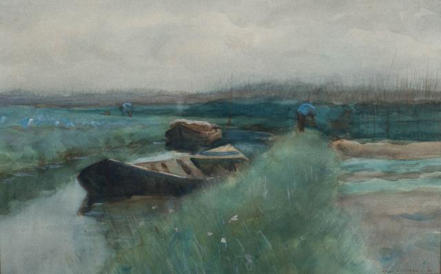 G. Derksen (1870-1920) - Polderlandschap met schuiten. Ges. R.O.