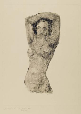 L. van de Bundt (1909-1979) - Naakt. Dessin à la presse