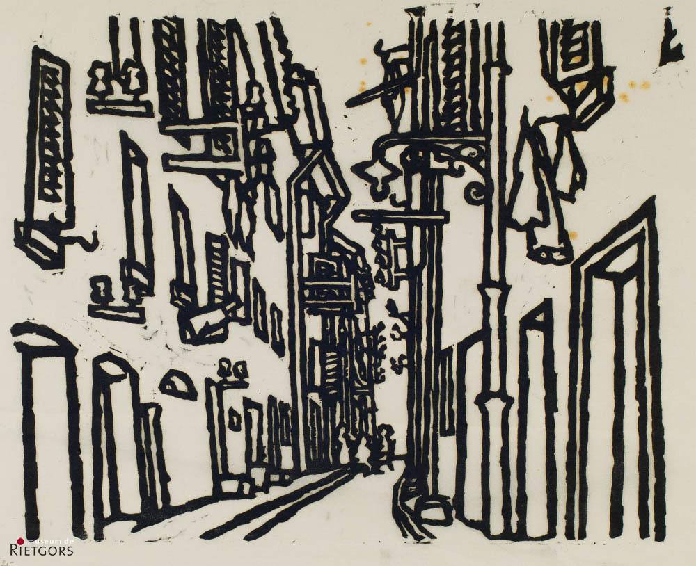 "W. Noordhoek (1916-1995) - ""Straatje in Zuid-Frankrijk. Ges. R.O. en 4/25."""