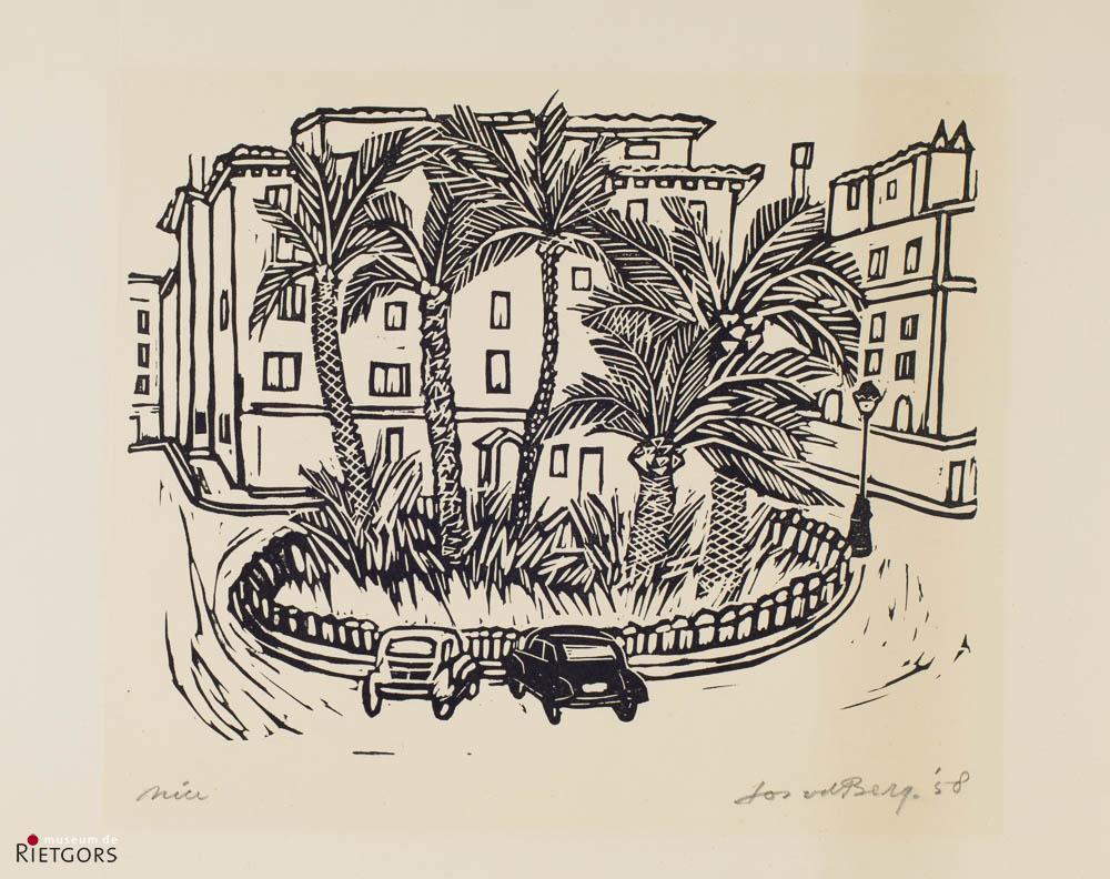 J. van den Berg (1905-1978). - Pleintje te Nice. Ges. R.O. en '58.
