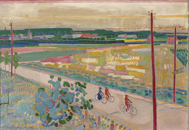 Jan Sluijters (1881-1957) - Weg met fietsers. Ges. L.O. en 1911.