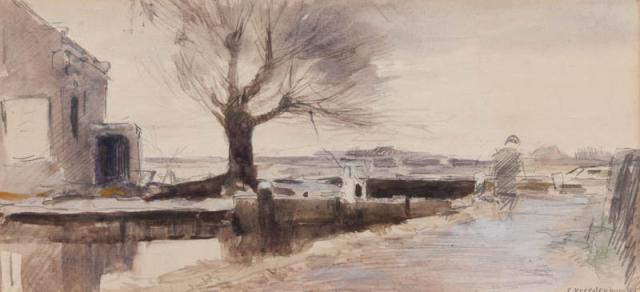 C. Vreedenburgh (1880-1945) - Landschap met wetering. Ges. R.O.