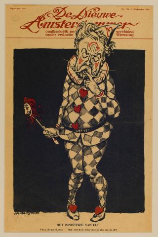 """Jan Sluijters (1881-1957) - """"Het ministerie van elf. Bijvoegsel van de Nieuwe Amsterdammer, 14-9-1918."""""""