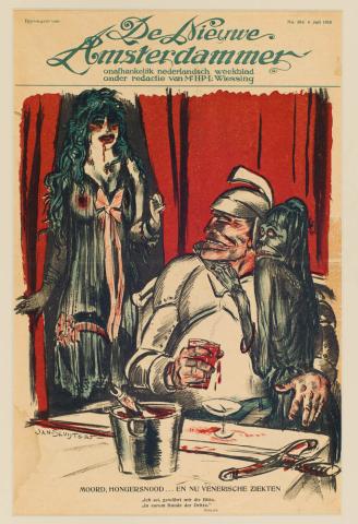 """Jan Sluijters (1881-1957) - """"Moord-hongersnood... Bijvoegsel van de Nieuwe Amsterdammer, 14-9-1918."""""""
