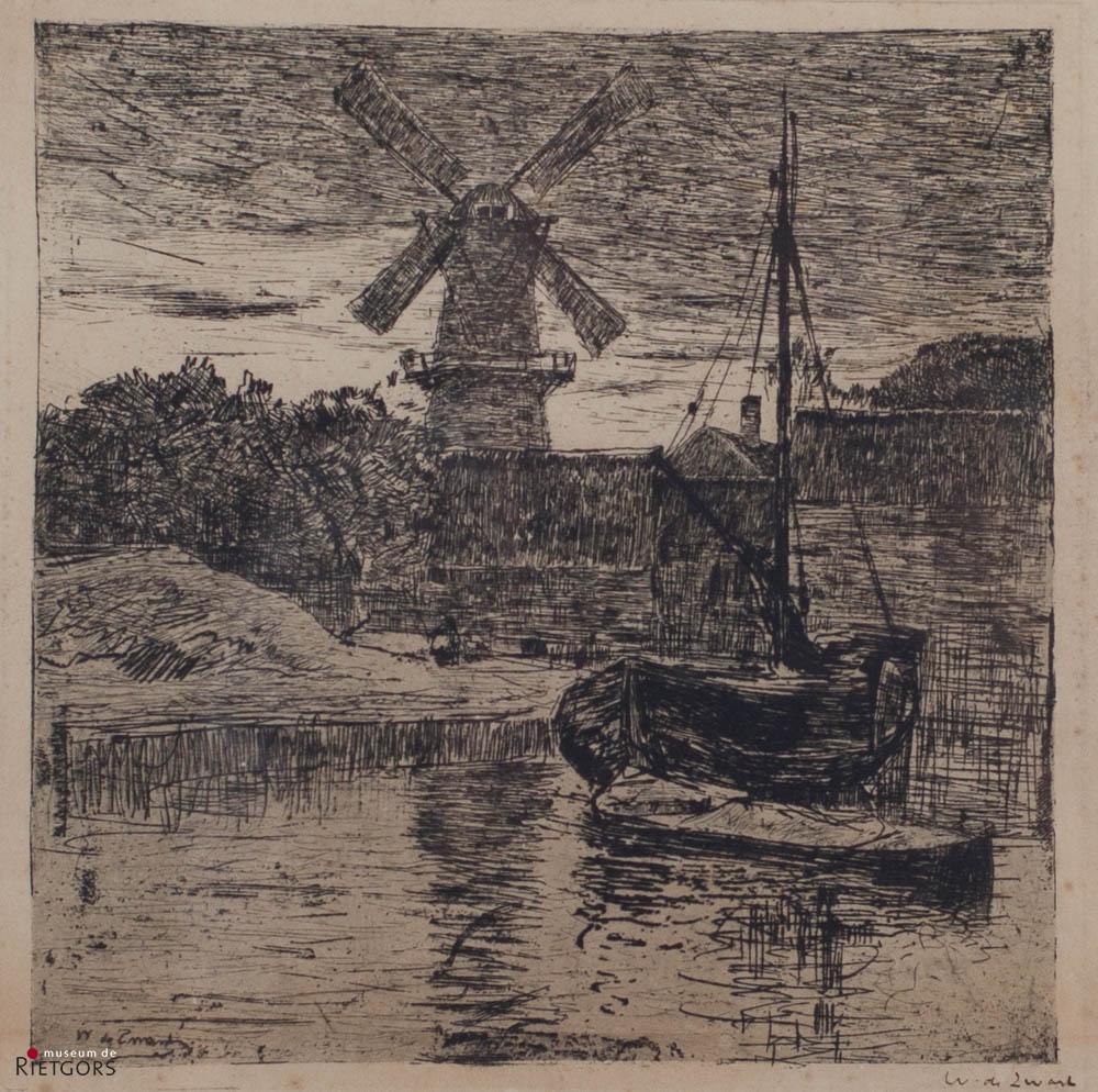 """W. de Zwart (1862-1931) - """"Molen met haventje, vermoedelijk Dordrecht. Ges. R.O."""""""