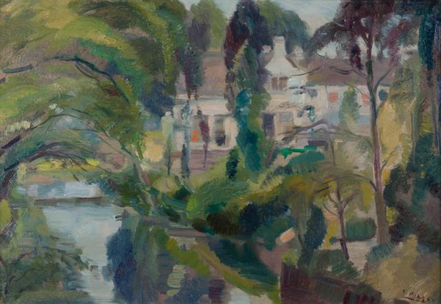 B.C. Noltee (1903-1967) - Huis tussen geboomte. Ges. R.O