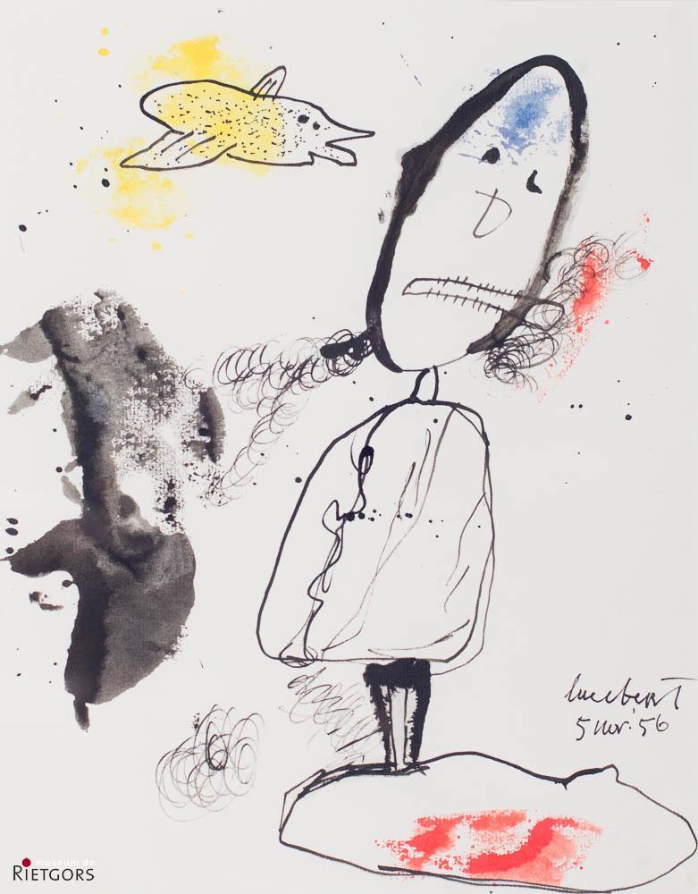 Lucebert (1924-1994) - Rokende man. Ges. R.O. en '56.