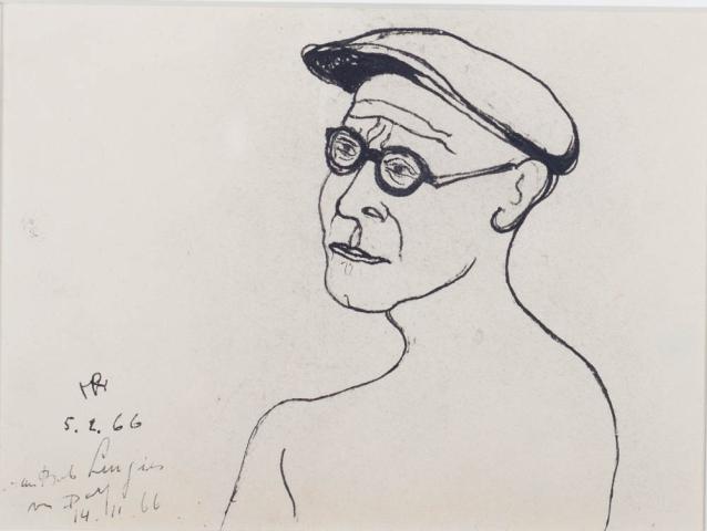 D. Henkes (1903-1989) - Zelfportret. Ges. L.O. en '66.