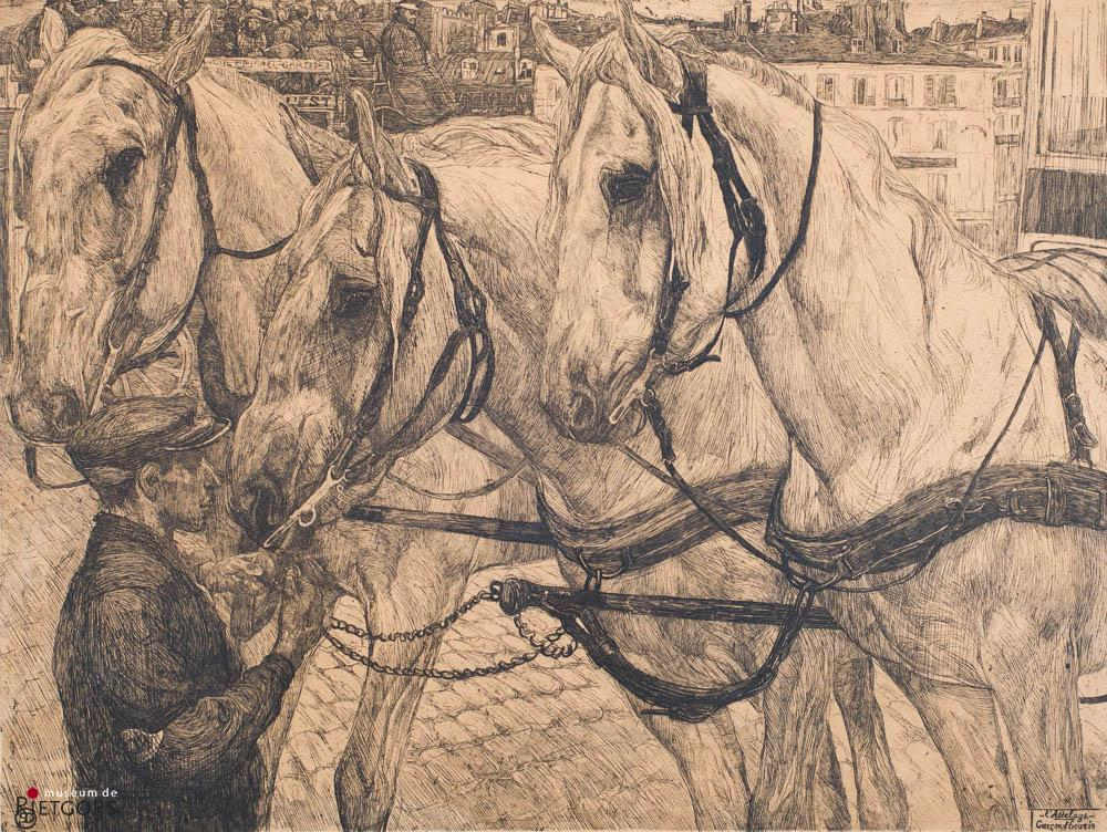 "P. Dupont (1870-1911) - ""L'Attelage"". Ges. 3/15."