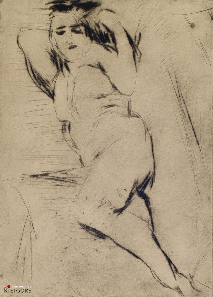 J. Altink (1885-1976) - Liggend Naakt. Atelierstempel.