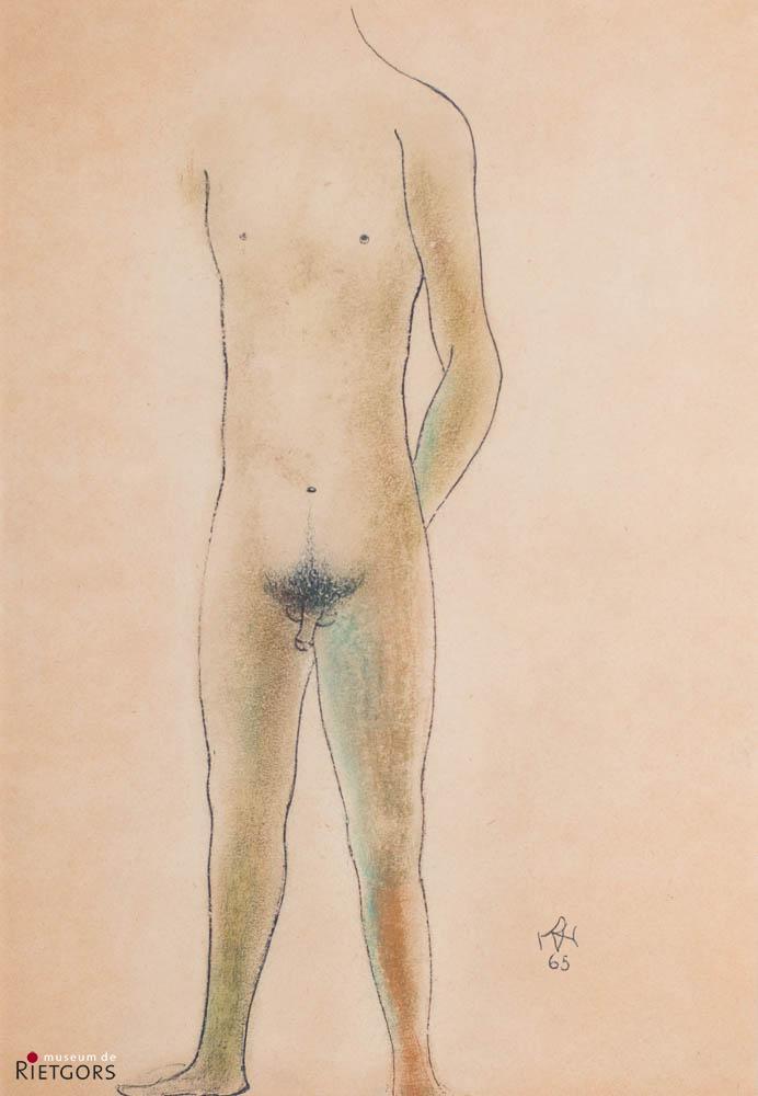 D. Henkes (1903-1989) - Staande jongeling. Ges. R.O. en 1965.