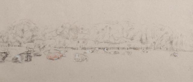 """""""A.E. de Savornin Lohman (1903- 1970)"""" - Landschap met koeien."""