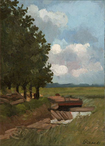 M.P. Reus (1865-1938) - Landschap. Ges. R.O