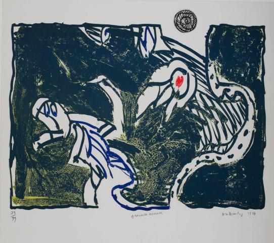 "P. Alechinsky (1927) - ""Grenouille errante"". Ges. R.O. en 1978. 73/99."""