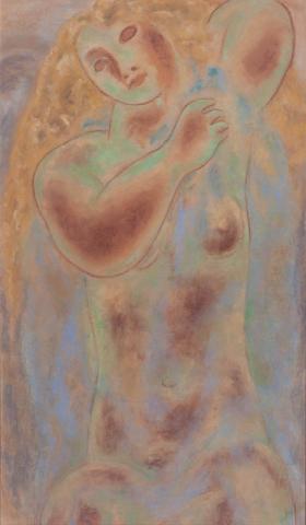 "L. Gestel (1881-1941) - ""Vrouwenfiguur. Gem. met atelierstempel in verso."""