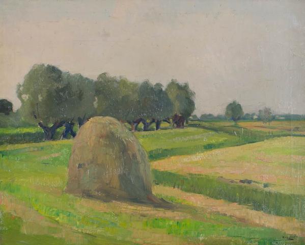 B.C. Noltee (1903-1967) - Landschap met hooimijt. Ges. R.O.