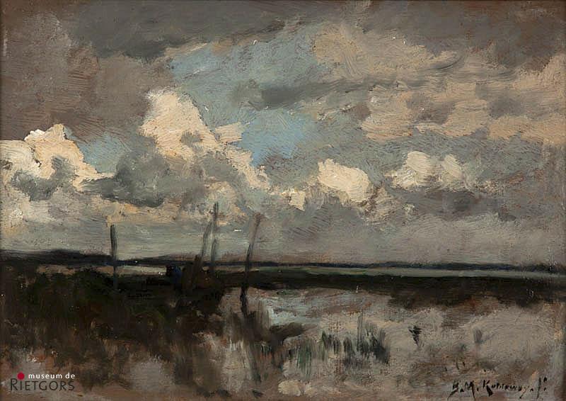 B.M. Koldewey (1859-1898) - Polderlandschap. Ges. R.O.