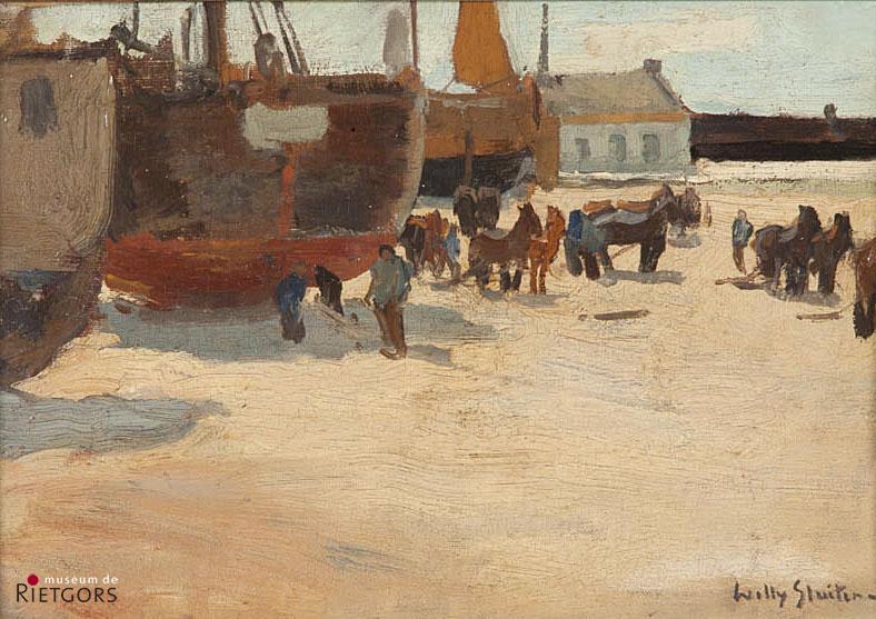 W. Sluiter (1873-1949) - Bomschuiten op het strand. Ges. R.O.