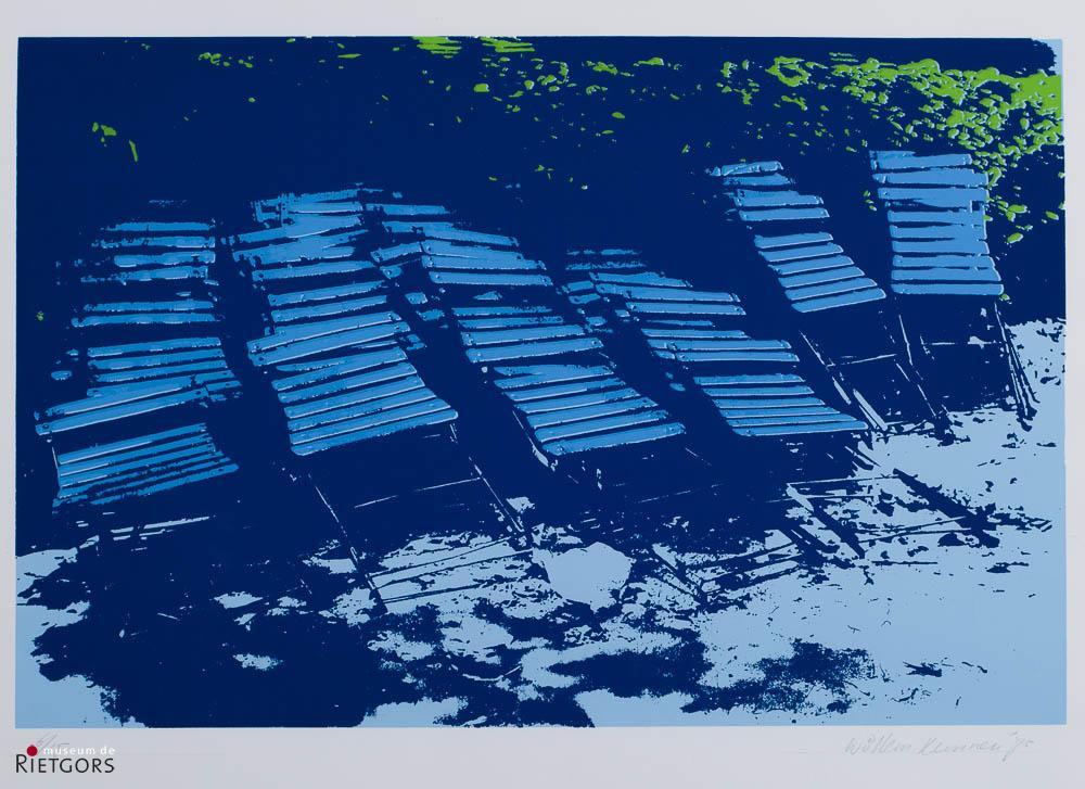 W. Kunnen - Stoeltjes in blauw. Ges. R.O. en '75.